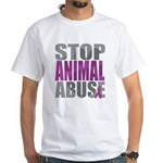 Stop Animal Abuse(Paw) White T-Shirt