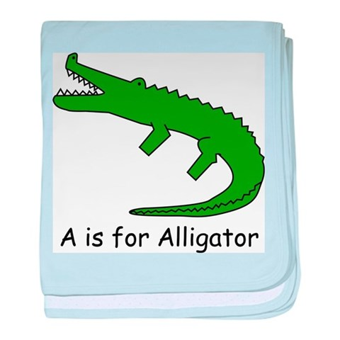 A is for Alligator  Alphabet baby blanket by CafePress