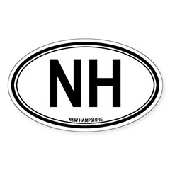 New Hampshire (NH) euro Sticker (Oval)