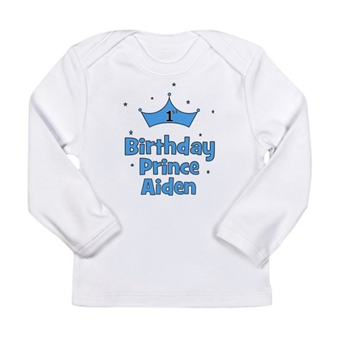 1st Birthday Prince Aiden Long Sleeve Infant T-Sh Baby Long Sleeve Infant T-Shirt by CafePress