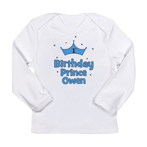 1st Birthday Prince OWEN Long Sleeve Infant T-Shi Baby Long Sleeve Infant T-Shirt by CafePress