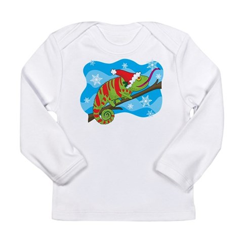 Christmas Chameleon  Cupsreviewcomplete Long Sleeve Infant T-Shirt by CafePress