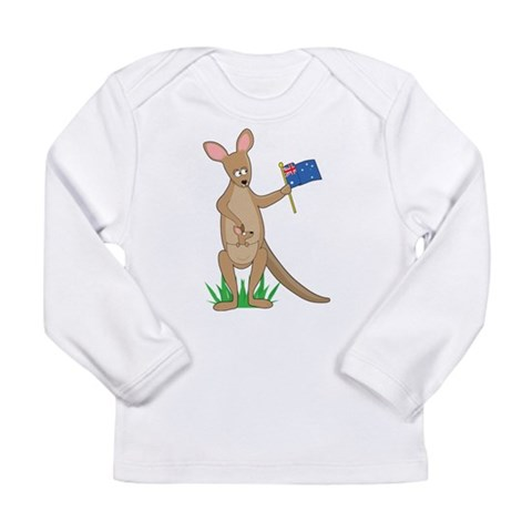 Animal Alphabet Kangaroo Long Sleeve Infant T-Shir Baby Long Sleeve Infant T-Shirt by CafePress