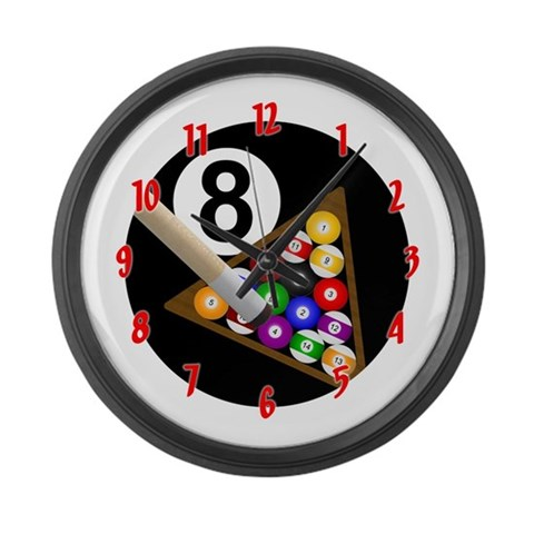 8-Ball  Sports Large Wall Clock by CafePress