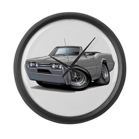 1967 Olds Grey Convert  Art Large Wall Clock by CafePress