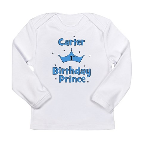 1st Birthday Prince Carter Long Sleeve Infant T-S Baby Long Sleeve Infant T-Shirt by CafePress
