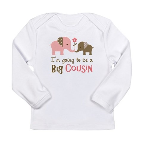 Big Cousin - Elephant  Family Long Sleeve Infant T-Shirt by CafePress