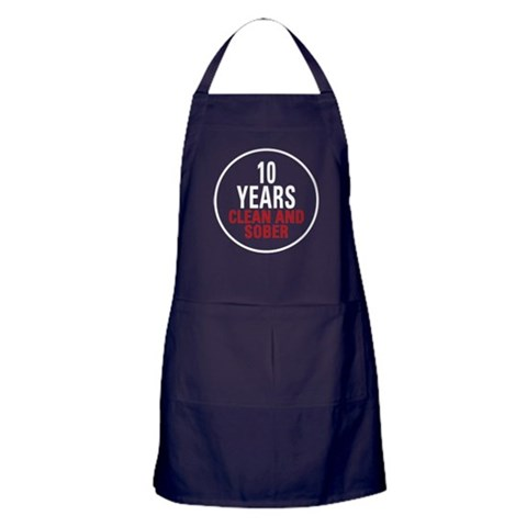 10 Years Clean  Sober  Alcohol Apron dark by CafePress