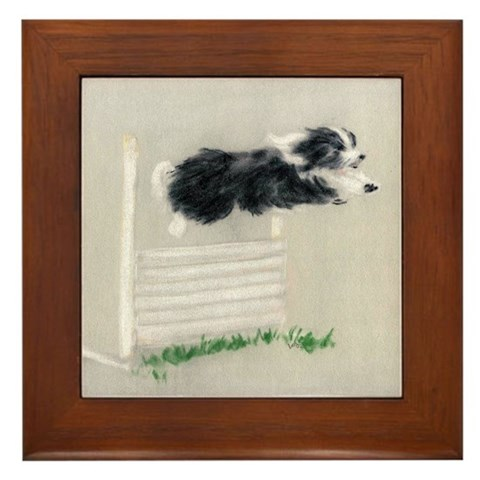 - Bearded Collie Jumping Bearded collie Framed Tile by CafePress
