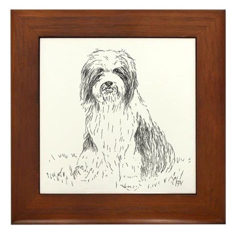 - Beardie sitting Bearded collie Framed Tile by CafePress