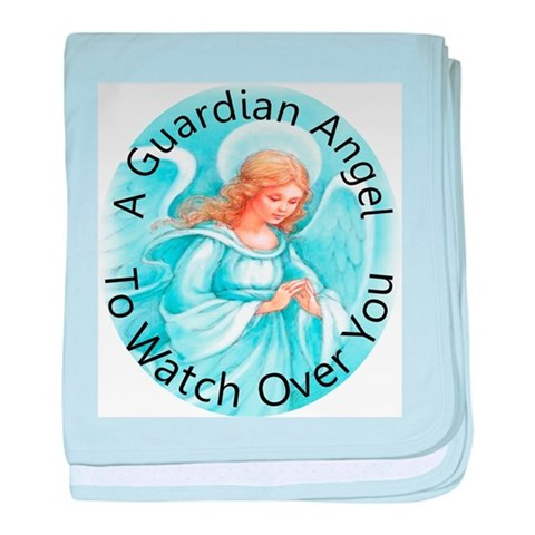 A guardian angel to watch ove  Angel baby blanket by CafePress