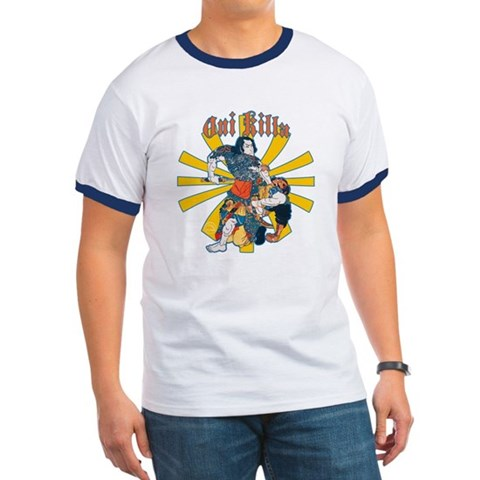 - Blue / White Samurai Ringer T by CafePress