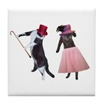Fancy Dance Cats Tile Coaster