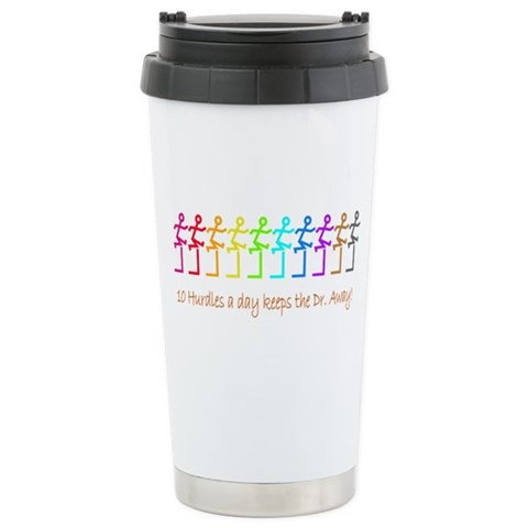 10 hurdles a day  Sports Ceramic Travel Mug by CafePress