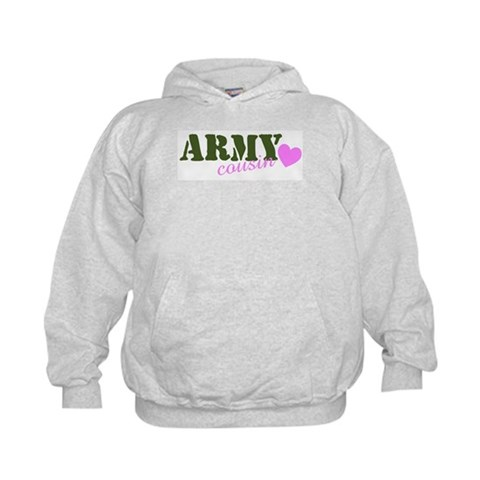 Army Cousin Green  Heart  Military Kids Hoodie by CafePress