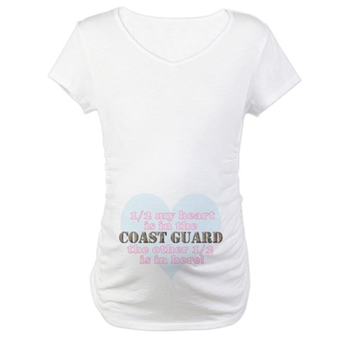 1/2 My heart is in the coast guard... Military Maternity T-Shirt by CafePress