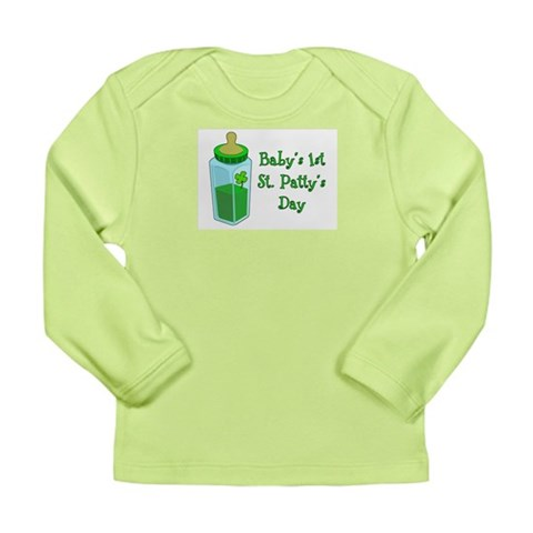 Baby's 1st St. Patty's Day Long Sleeve Infant T-Sh Baby Long Sleeve Infant T-Shirt by CafePress