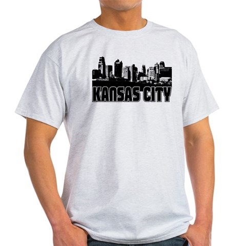 Kansas City Skyline  Places Light T-Shirt by CafePress