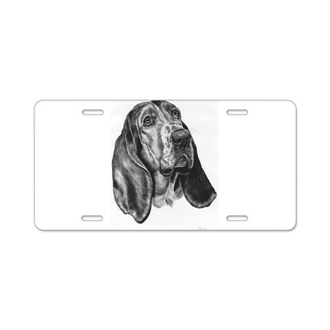 Basset Hound Pencil Drawing  Pets Aluminum License Plate by CafePress