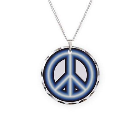 Blue Peace Symbol  Vintage Necklace Circle Charm by CafePress