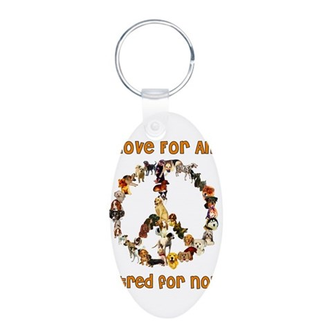 Dogs Of Peace  Pets Aluminum Oval Keychain by CafePress