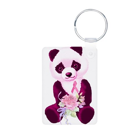 Breast Cancer Panda Bear  Breast cancer Aluminum Photo Keychain by CafePress