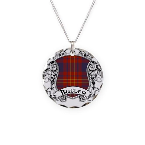 Butler Tartan Shield  Family Necklace Circle Charm by CafePress