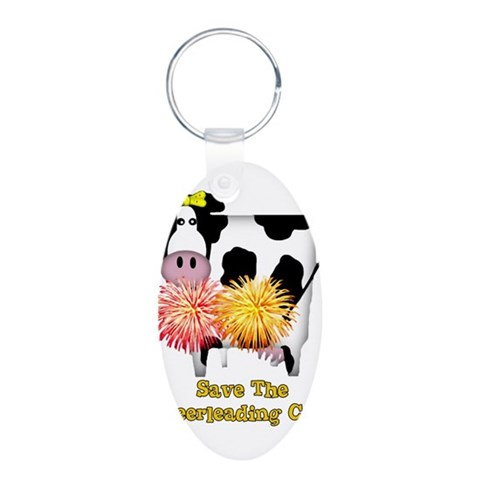 Cheerleading Cow  Pop culture Aluminum Oval Keychain by CafePress