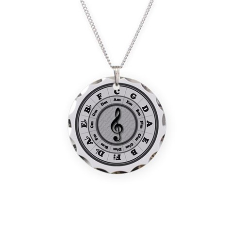 Bamp;W Circle of Fifths  Music Necklace Circle Charm by CafePress