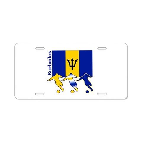 Barbados Soccer  Sports Aluminum License Plate by CafePress