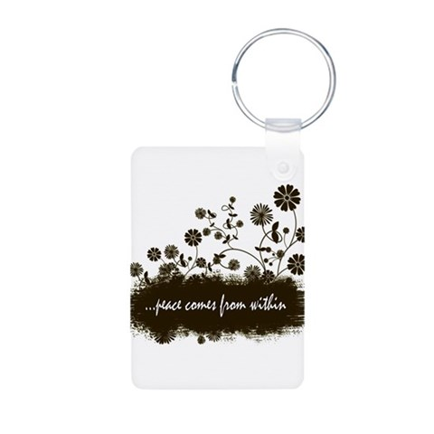 ...peace comes  Peace Aluminum Photo Keychain by CafePress