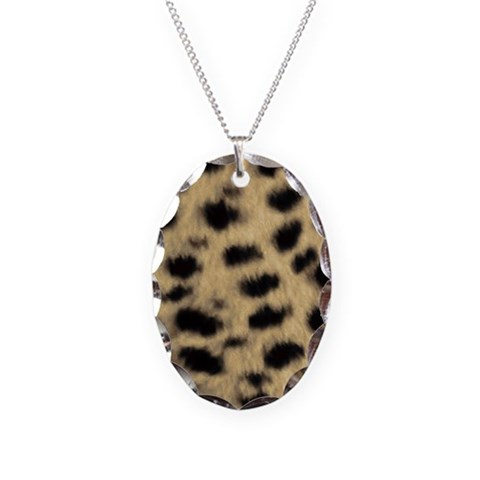 Cheetah Print  Animals Necklace Oval Charm by CafePress