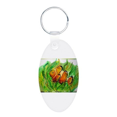 Fish, bright, tropical,  Pets Aluminum Oval Keychain by CafePress