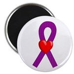 Purple Ribbon Heart Magnet