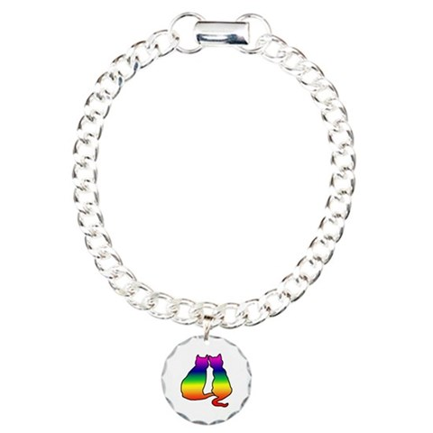 Cats in Love  Gay pride Charm Bracelet, One Charm by CafePress