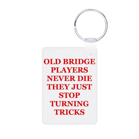 bridge player  Funny Aluminum Photo Keychain by CafePress