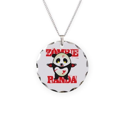 Zombie Panda  Cute Necklace Circle Charm by CafePress