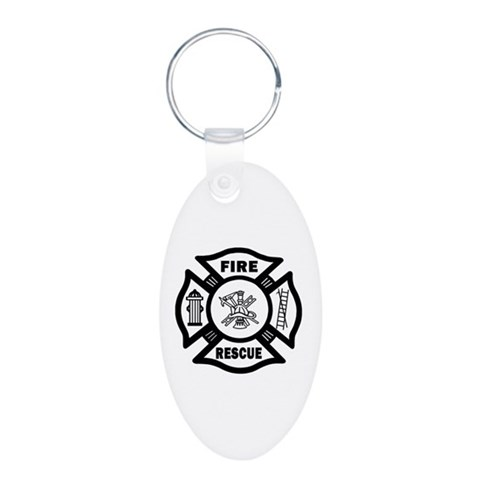 Fire Rescue  Firefighter Aluminum Oval Keychain by CafePress