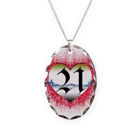 21st  21st birthday Necklace Oval Charm by CafePress