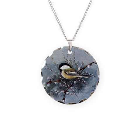 Chickadee  Art Necklace Circle Charm by CafePress
