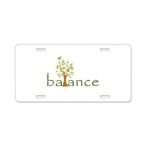 Balance  Cool Aluminum License Plate by CafePress