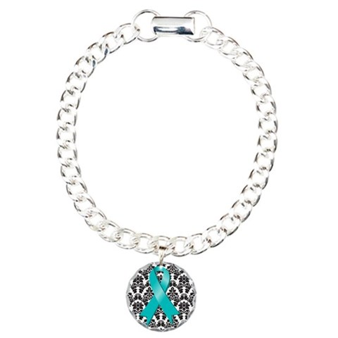 Damask Teal Ribbon  Health Charm Bracelet, One Charm by CafePress