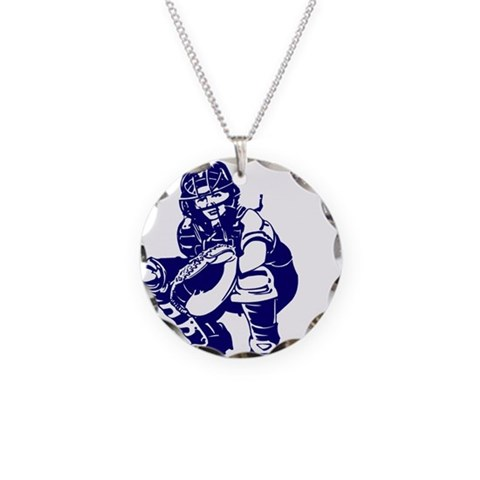 CATCHER 1 blue  Sports Necklace Circle Charm by CafePress
