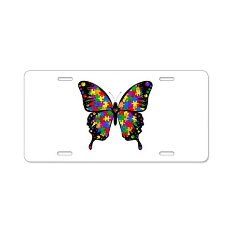 Autism Butterfly  Autism Aluminum License Plate by CafePress