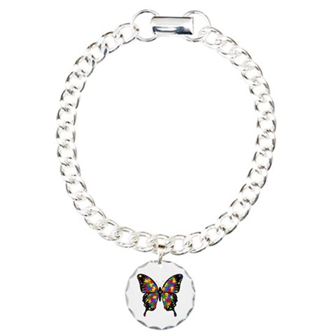 Autism Butterfly  Autism Charm Bracelet, One Charm by CafePress