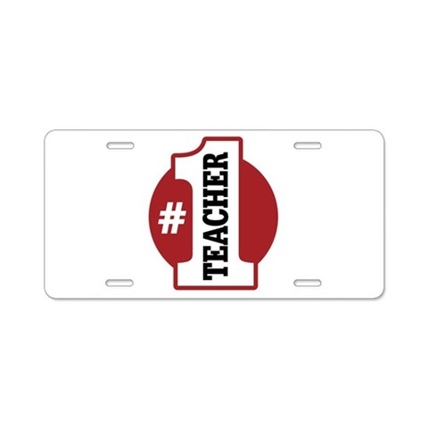 1 Teacher  Teacher Aluminum License Plate by CafePress