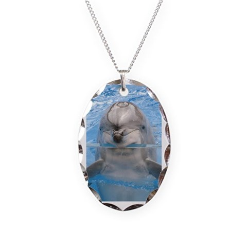 Helaine's Dolphin  Ocean Necklace Oval Charm by CafePress