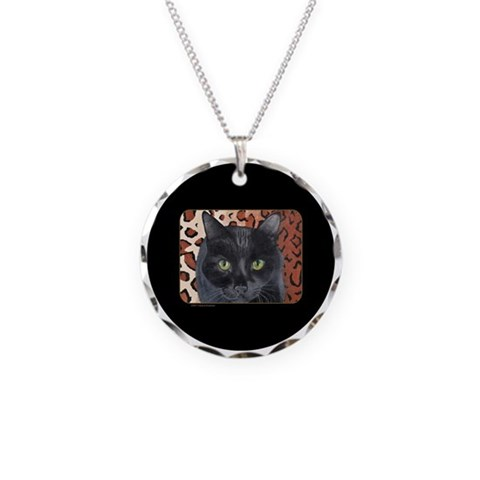 Black Cat on a Leopard Rug  Pets Necklace Circle Charm by CafePress