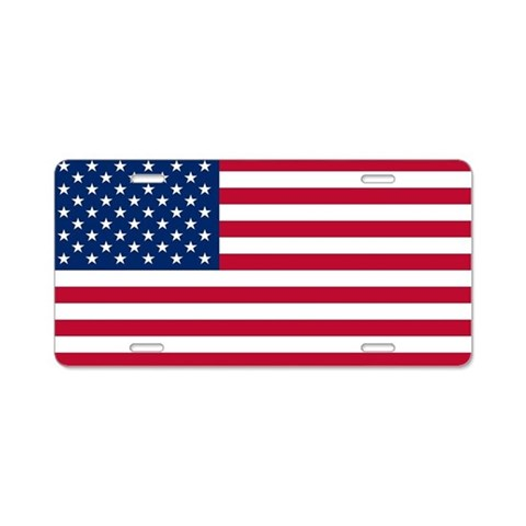 American Flag License Plate Flag Aluminum License Plate by CafePress