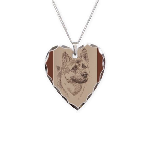 Akita  Art Necklace Heart Charm by CafePress